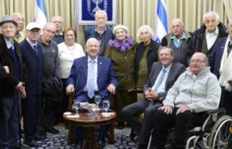 """נשיא המדינה אירח בבית הנשיא מפגש עם 15 לוחמות ולוחמים מוותיקי תנועת הלח""""י"""